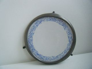 Victorian Trivet,  Round Made Of China And Pewter photo