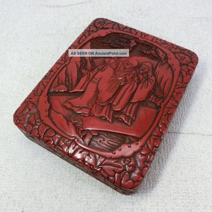 H385: Chinese Lacquer Ware Ink Stone Case Of Popular Tsuishu Style W/good Work Boxes photo