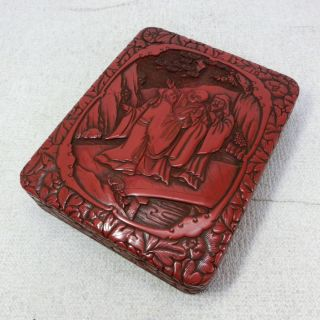 H385: Chinese Lacquer Ware Ink Stone Case Of Popular Tsuishu Style W/good Work photo