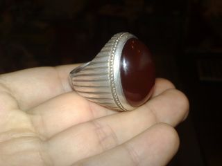 Antique Huge Handmade Arabian Suleimani Agate Aqeeq Silver Ring 33gr Size15.  5 Nr photo