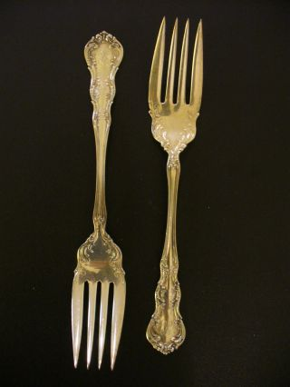 Two Antique 1899 Wallace Irving Old Atlanta Sterling Salad Forks K Mono Nr photo