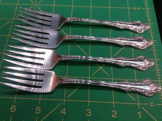 4 Melbourne Sterling Silver Salad Forks By Oneida 6 - 1/2 Inch Fork 144 Grams photo