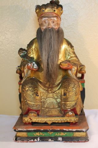 Vintage Chinese Wooden Bearded Old Man Statue Hand Carved Solid Wood Statue photo