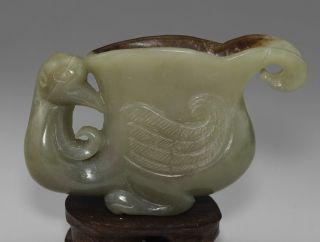 100% Natural Nephrite Hetian Jade Carved Phoenix Bird Horse - Hoof Cup photo