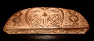 Vintage Kuba Tukula Hand Carved Wooden Cam Wood Powder Box photo