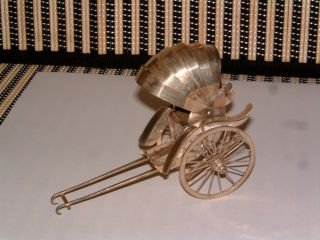 Sterling Silver Rare Hand Made Rickshaw W/rolling Wheels & Collapsible Roof photo