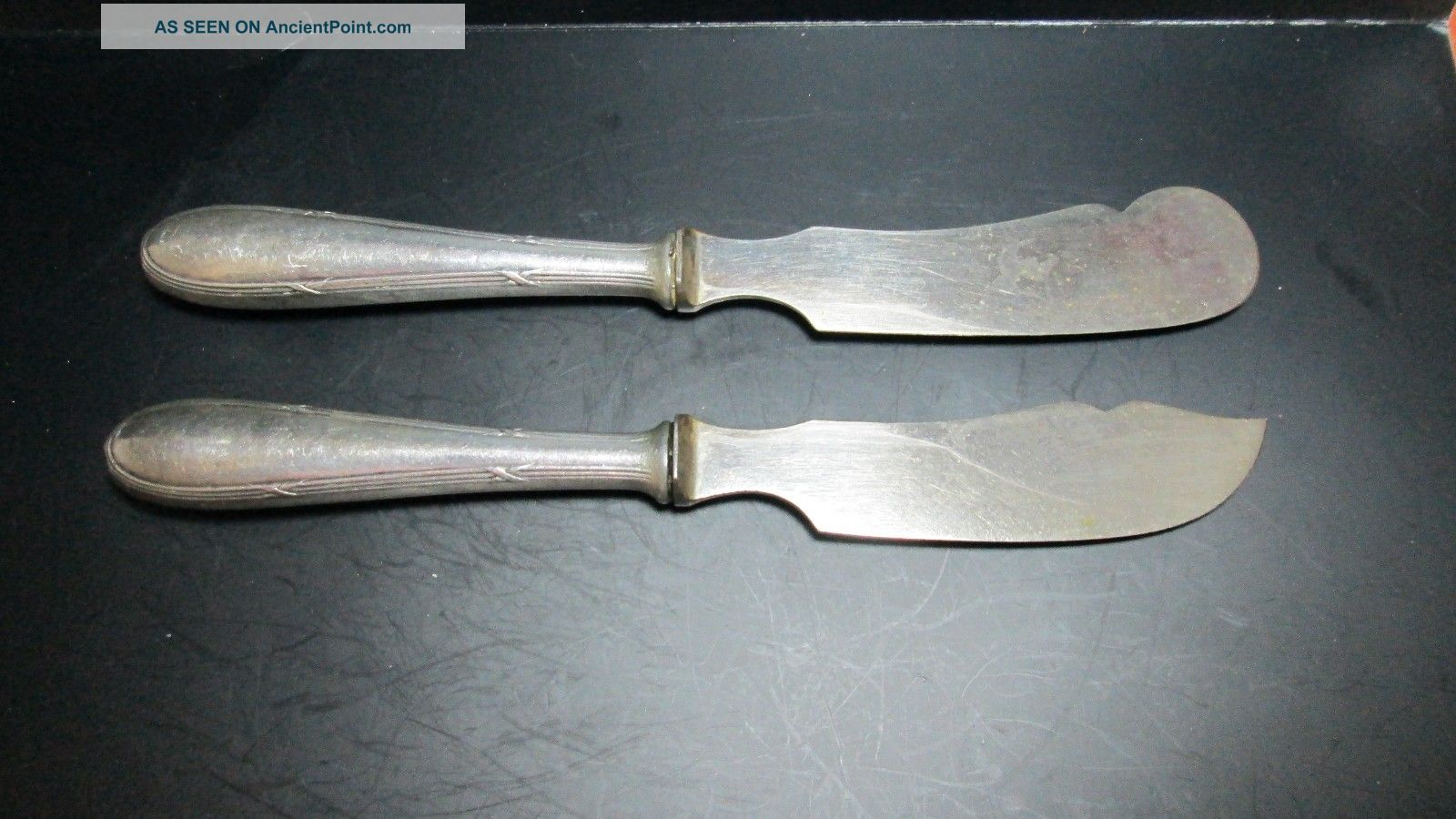 Antique Classic 835 German Solid Silver Cheese & Butter Knifes Server Flatware Germany photo