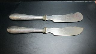Antique Classic 835 German Solid Silver Cheese & Butter Knifes Server Flatware photo