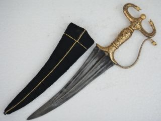 19th C Lion Face Dagger With Gold Damascene Work With Fine Wootz Steel photo