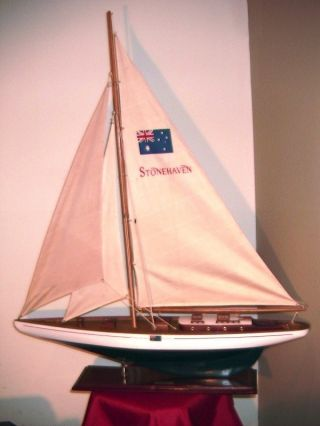 Rare Vintage Yacht Australia Stonehaven Wine Wooden Model Sailboat 44