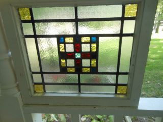 L217 Older & Pretty Multi - Color English Leaded Stained Glass Window 2 Available photo