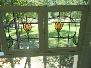 B276 Pretty Patterned Style Multi - Color English Leaded Stained Glass Windows photo