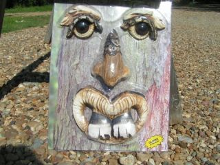 Eyes Glow In The Dark Tree Bucktooth Gnome Garden Face photo