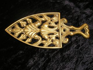 Pottstown Pa.  Vtg.  Metalcrafter Brass Iron Trivet Acanthus Leaves R.  F.  Smale & Co photo