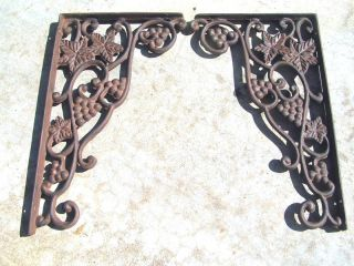 Two Cast Iron Brackets Corner Corbels Shelf Braces Rust photo