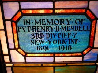 S38 Antique Stained Glass Leaded Window Ww1 Wwi Fallen Soldier Henry Mendell Ny photo