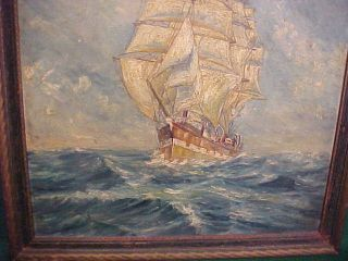 Signed Vintage Oil Painting 3 Masted Sailing Ship After Montague Dawson 1935 photo