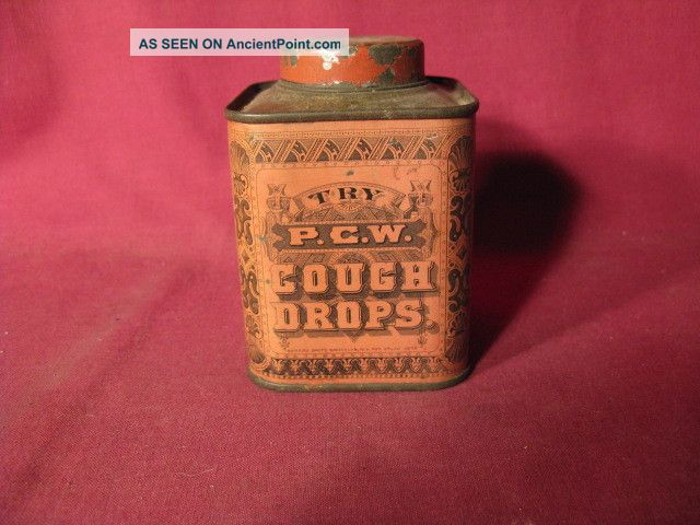 Antique 19th C P.  C.  W.  Cough Drops Tin Other photo