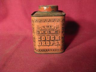 Antique 19th C P.  C.  W.  Cough Drops Tin photo