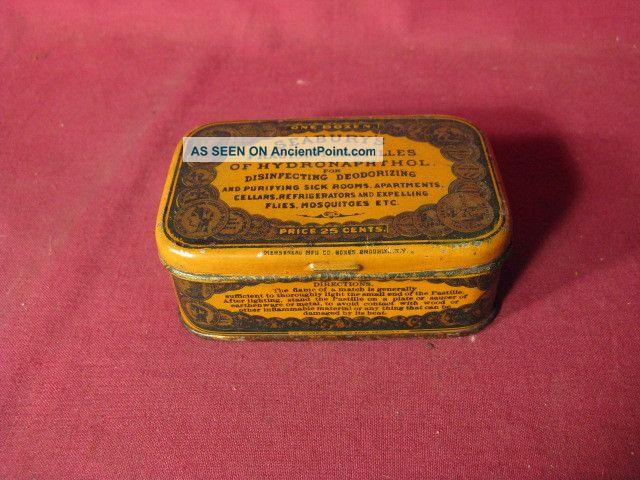 Antique 19th C Seabury ' S Fragrant Pastilles Etc Medicinal Advertising Tin Other photo