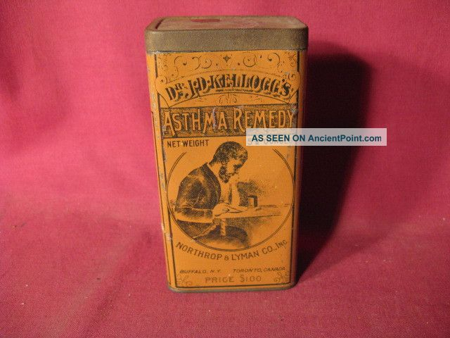 Antique 19th C Dr J D Kelloggs Asthma Remedy Buffalo Medicinal Advertising Tin Other photo