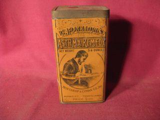 Antique 19th C Dr J D Kelloggs Asthma Remedy Buffalo Medicinal Advertising Tin photo