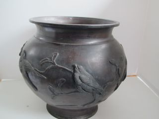 Antique Japanese Bronze Pot With Birds And Branches Relief 8.  75