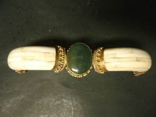 Antique Cabochon Bangle Cuff Bracelet - Made In India W/ Label,  Nr photo