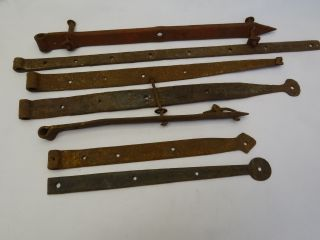 Antique Old Primitive Iron Hand Forged Barn Door Brackets Architectural Hardware photo