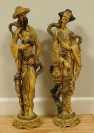 Pair Of Vintage Oriental Decorative Statues photo