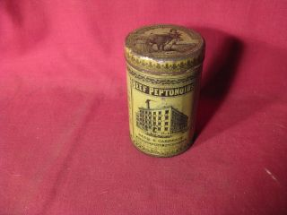 Antique 19th C Reed & Carnrick Beef Peptonoids Medicinal Advertising Tin photo