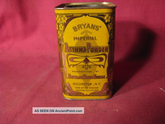 Antique 1908 Bryans ' Imperial Asthma Powder Rochester Medicinal Advertising Tin Other photo