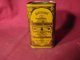 Antique 1908 Bryans ' Imperial Asthma Powder Rochester Medicinal Advertising Tin photo