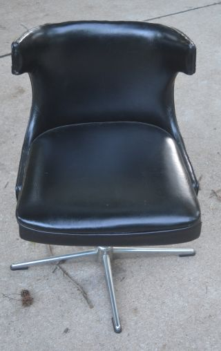 Vintage 1974 Black Mid Century Modern Shelby Williams Chair Danish photo