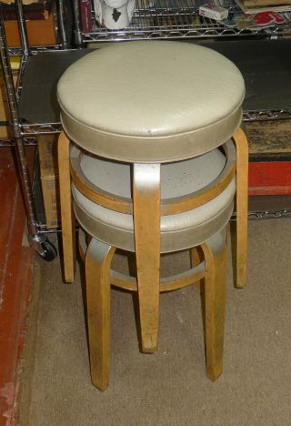 Thonet - - Two Short Stools - - - Branded - - Oroginal Labels - - One  - - Recovered? photo