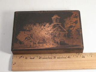 Vintage Copper Printing Plate On Wood Bkick - Church And Trees 5