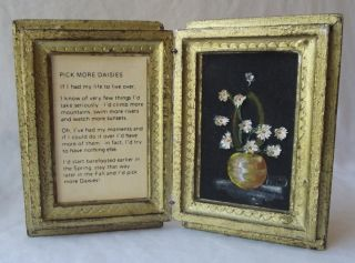 Italian Florentine Toleware Hand Painted Daisies Diptych - Pick More Daisies photo