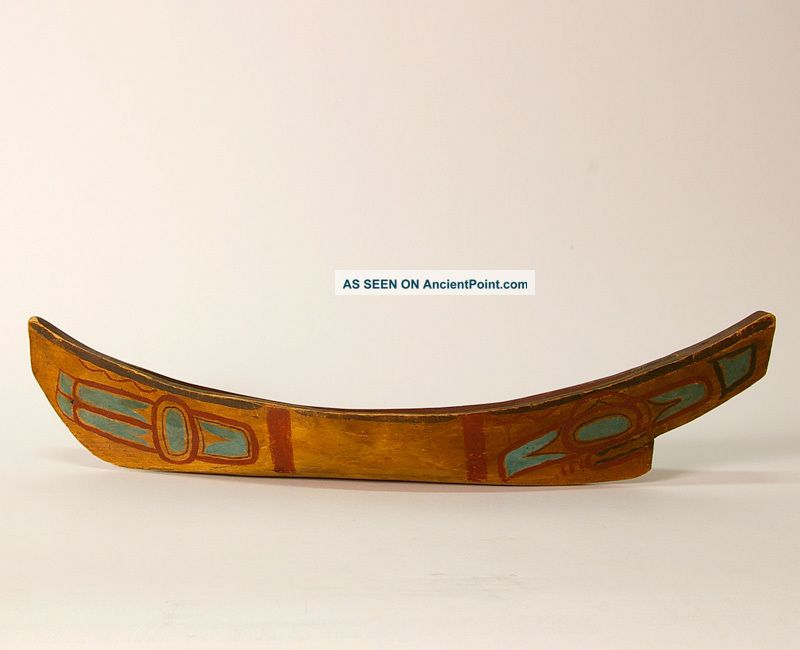 Museum Quality Haida Model Canoe Collected 1911 Red Cedar Unsigned T - Bird Design Native American photo