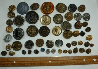 Antique Vintage 55 Metal Buttons Royalty Roman Oriental Animals Horses + Nr photo