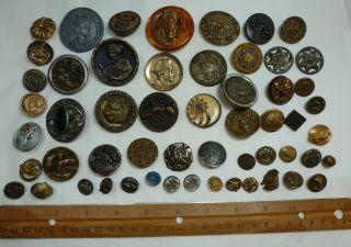 Antique Vintage 55 Metal Buttons Royalty Roman Oriental Animals Horses + Nr photo