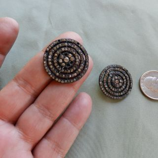 Antique Late 1800s Metal Rhinestone Victorian Buttons,  Of Two,  Big Size photo