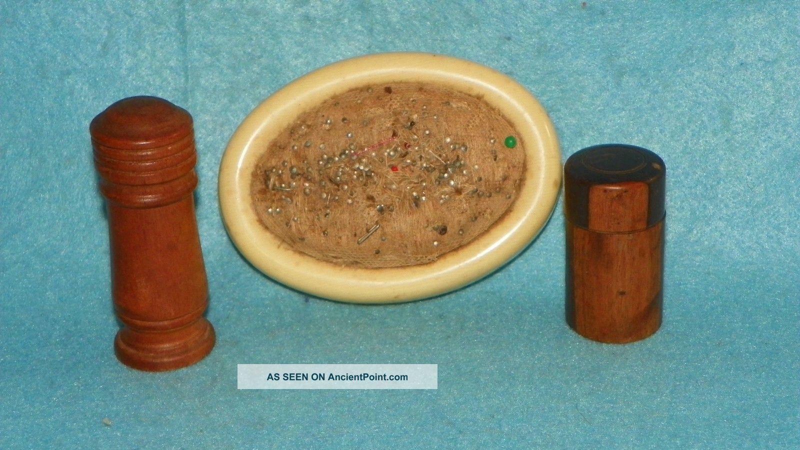 (2) Antique Victorian Wooden Needle Cases Treenware Vintage Sewing Collectibles Needles & Cases photo
