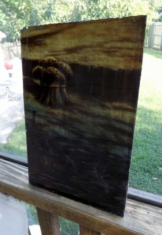 Antique Vintage Stained Glass Window Panel Victorian Leaded Sheaf Of Wheat photo