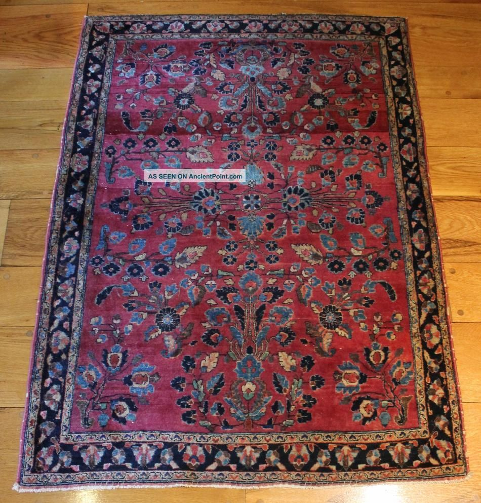 Antique 1920s Sarouk Oriental Wool Rug,  Fine Quality,  Clean Condition Medium (4x6-6x9) photo