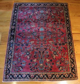 Antique 1920s Sarouk Oriental Wool Rug,  Fine Quality,  Clean Condition photo