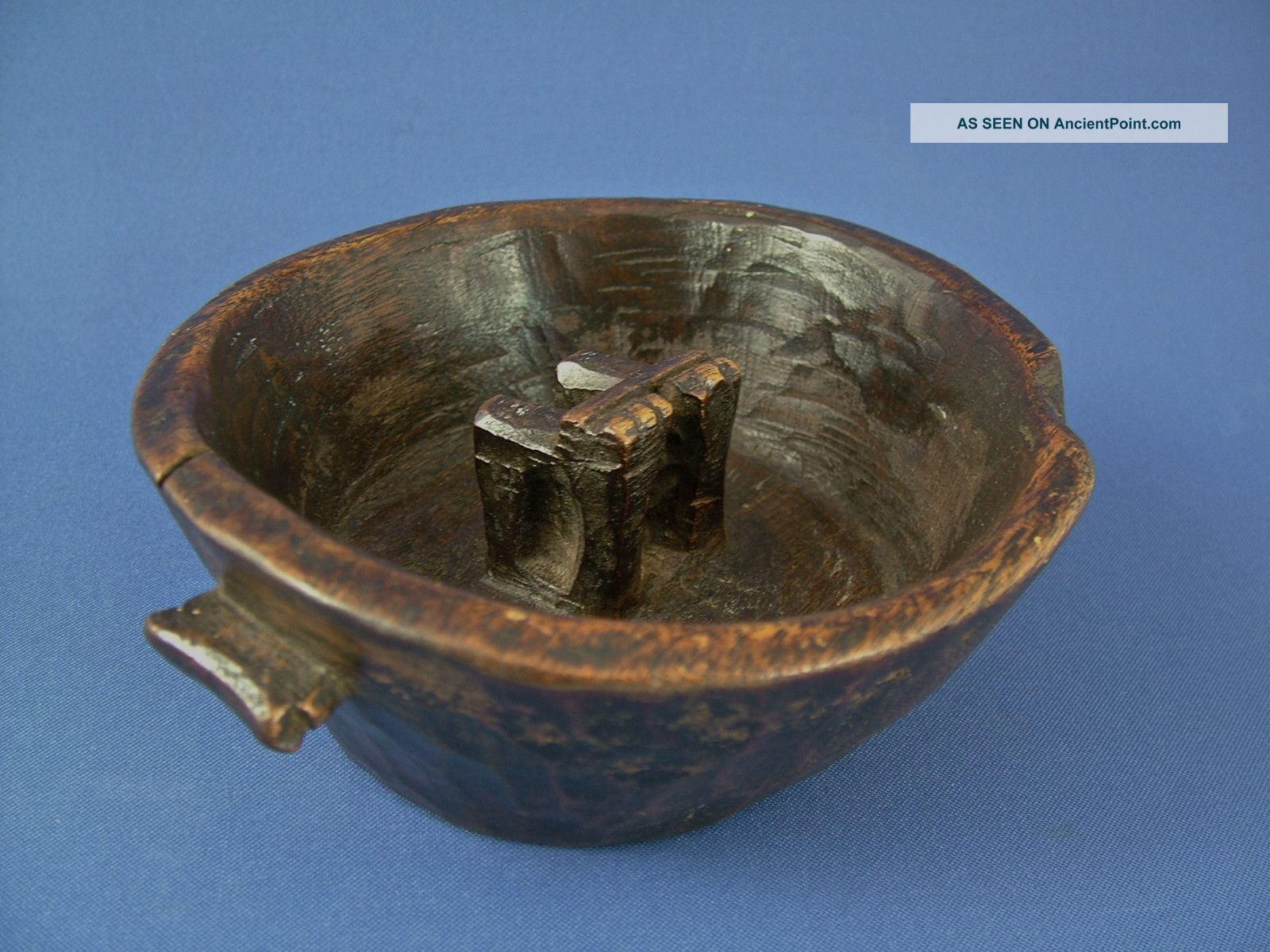An Antique Carved Wooden Chicha,  (maize Beer),  Bowl - Quechua People,  Bolivia. Latin American photo
