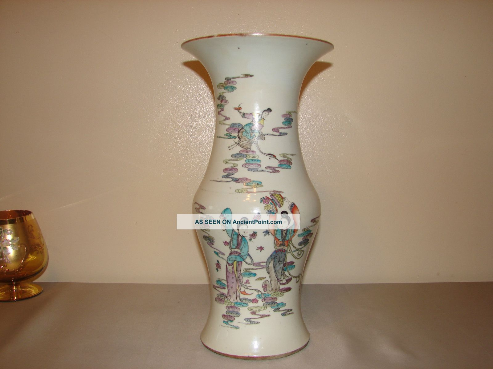 Antique Chinese Guangxu Porcelain Vase Famille Rose Republic Asian Calligraphy Vases photo