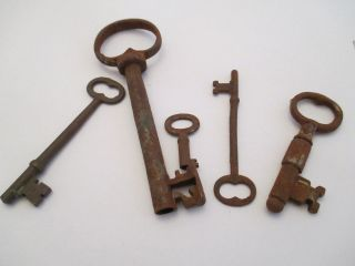 Five Rusty Antique Mortise Lock Skeleton Keys Antique Door Keys 1 Day Only photo
