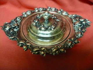 Antique Sterling Silver Woodside American Sugar Bowl W Lid Repousse ' Floral 1900 photo