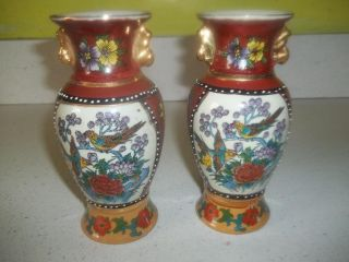 Set Of 2 Chinese Vase Hand Painted Birds And Flowers With Colors photo